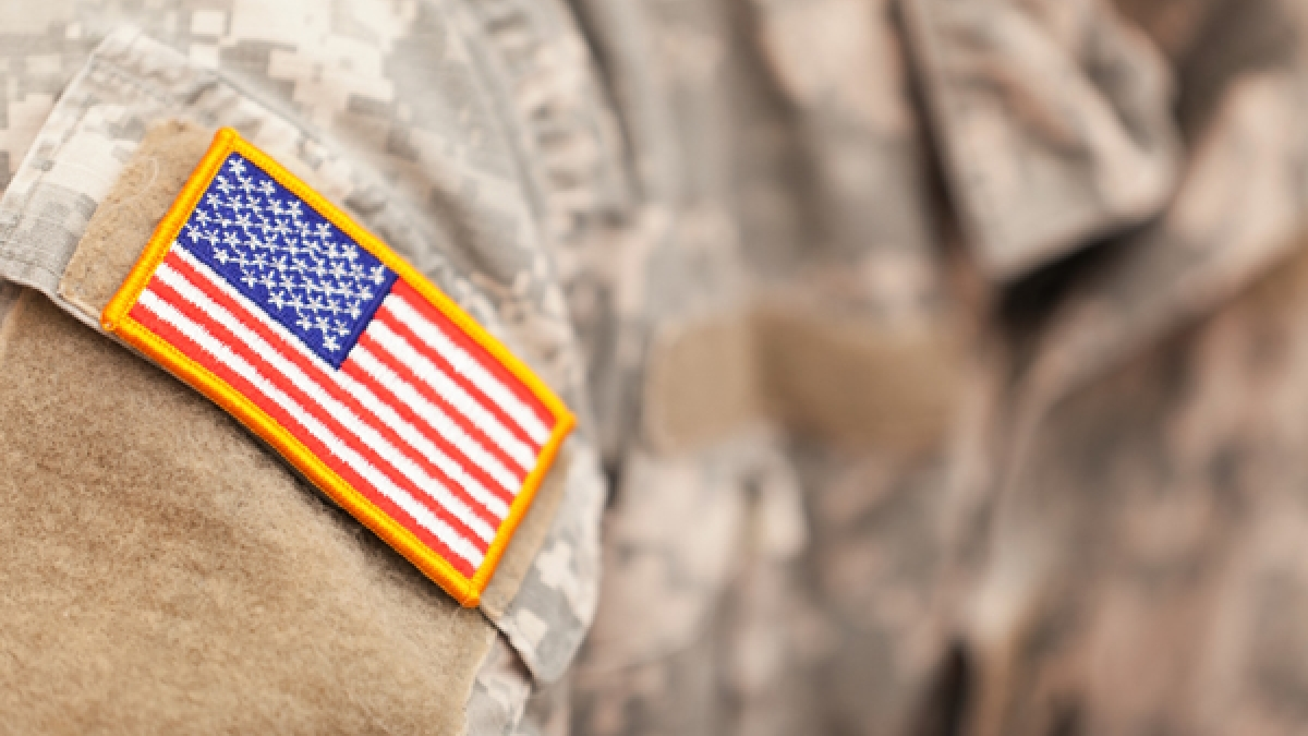 Flag patch on American soldiers uniform