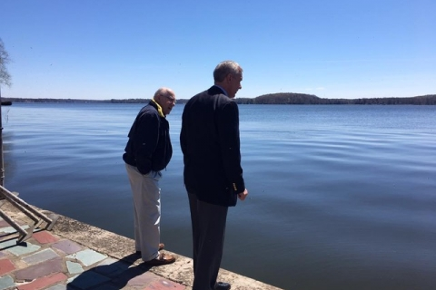 Rep. Katko observing rising water levels at Sodus Point.