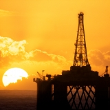 oil rig and sunset